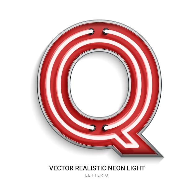 Neonbuchstabe q Premium Vektoren