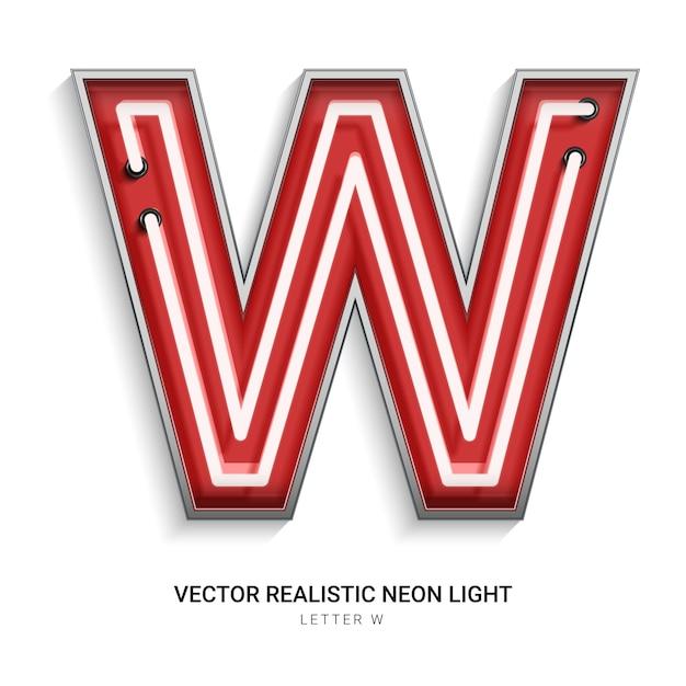 Neonbuchstabe w Premium Vektoren