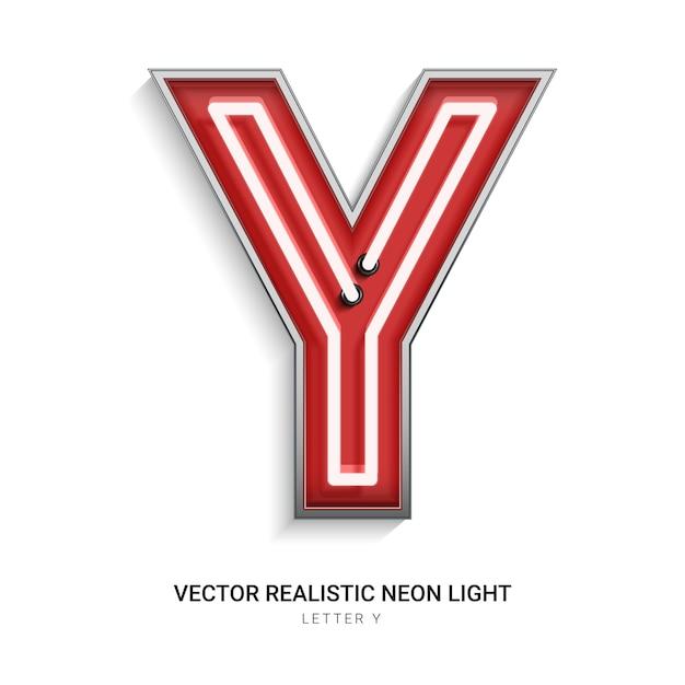Neonbuchstabe y Premium Vektoren