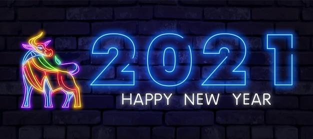Neonbulle 2021. chinesisches neujahrs-neonschild, helles schild, helles banner. chinesisches logo ochsen neon, emblem. 2021 chinesisch. Premium Vektoren