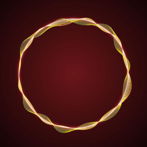 Neonglühende kreisform der wellen Premium Vektoren