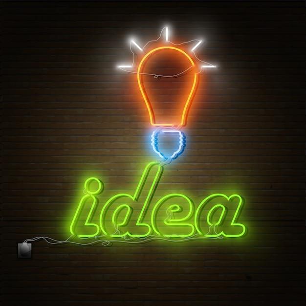 Neonideentext mit elektrizitätsglühlampe Premium Vektoren