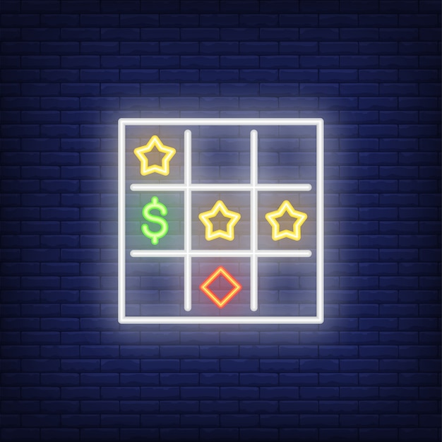 Neonikone der bingokarte Kostenlosen Vektoren