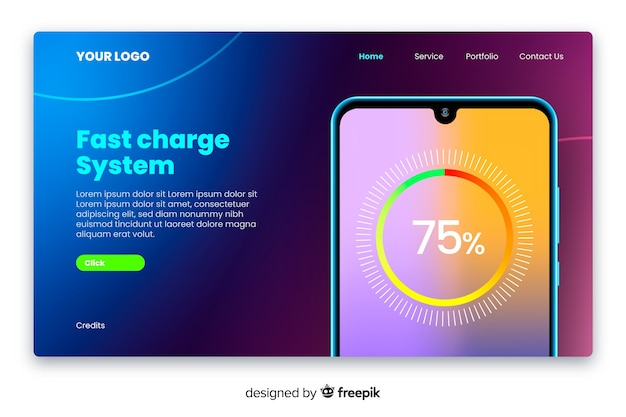 Neonlandingpage mit smartphone Kostenlosen Vektoren