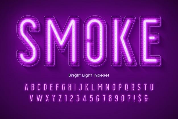 Neonlicht 3d alphabet, extra leuchtender moderner typ. Premium Vektoren