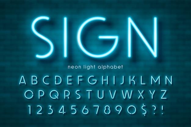 Neonlicht-alphabet, extra leuchtende schrift. farbfeldsteuerung. Premium Vektoren