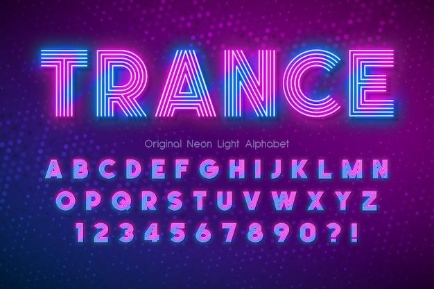 Neonlicht-alphabet, mehrfarbige, besonders leuchtende schrift. Premium Vektoren