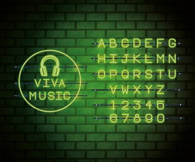 Neonlicht-alphabetschriftart Premium Vektoren