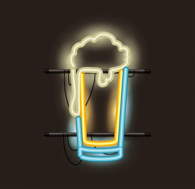 Neonlicht aus bierglas Premium Vektoren