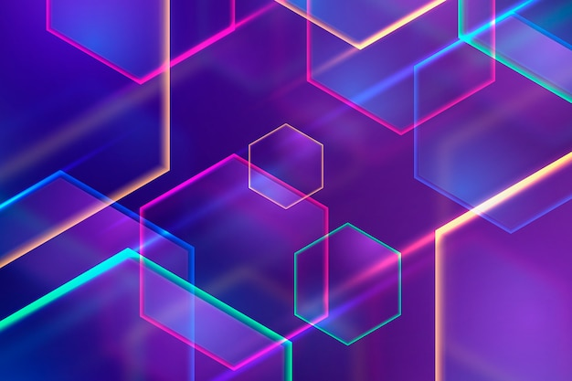 Neonlicht-hintergrundkonzept der geometrischen formen Kostenlosen Vektoren