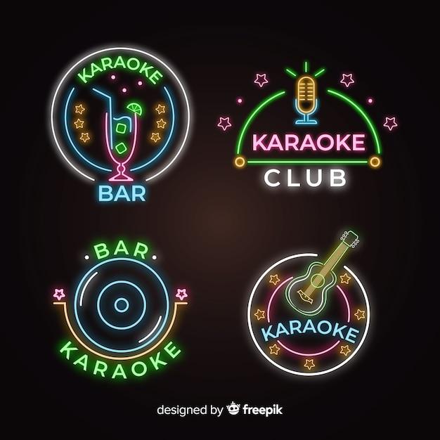 Neonlicht-karaoke-zeichensammlung Kostenlosen Vektoren