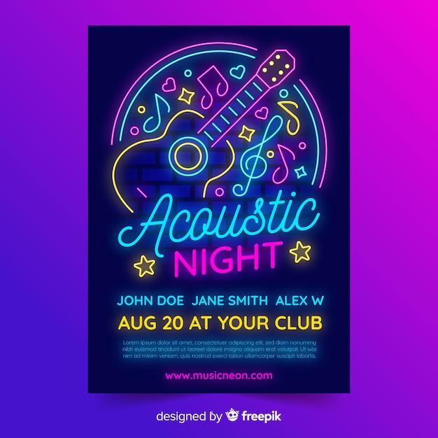 Neonlicht musik plakat vorlage Kostenlosen Vektoren