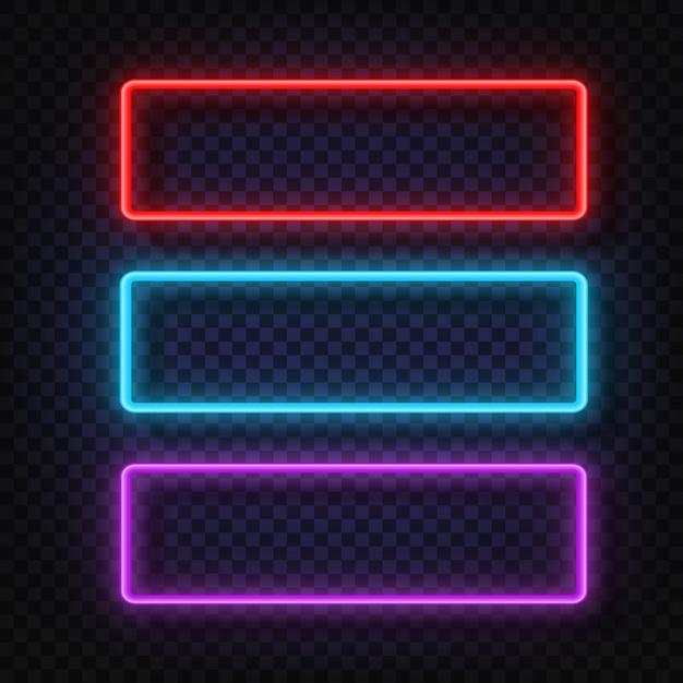 Neonlicht quadratisches zeichen. Premium Vektoren