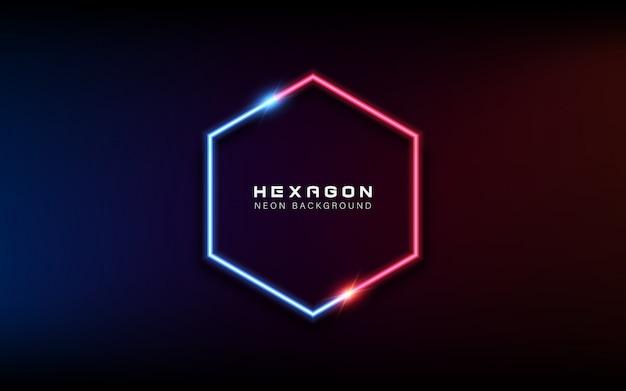 Neonlicht sechseckigen banner hintergrund Premium Vektoren