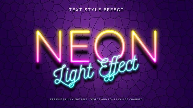 Neonlicht-textstil-effekt Premium Vektoren