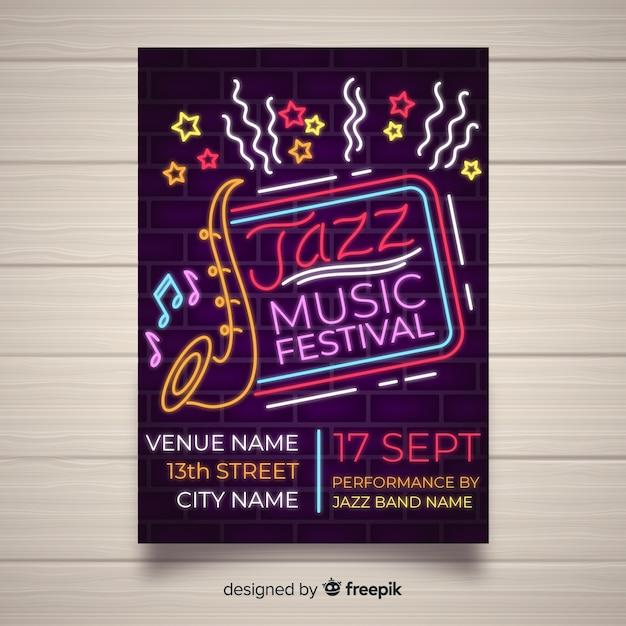 Neonlichtart der musikfestival-plakatschablone Kostenlosen Vektoren