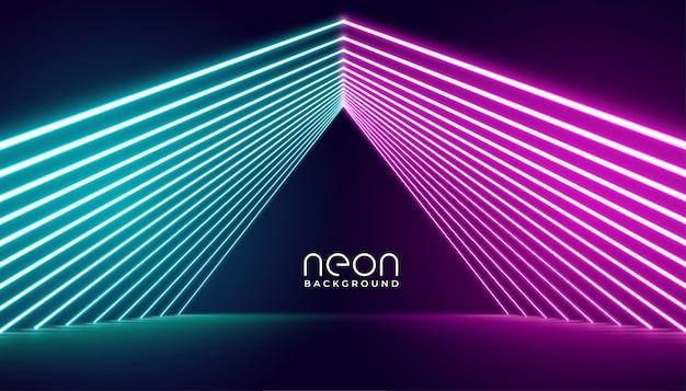 Neonlichtbühne in rosa und blauen lichtern Kostenlosen Vektoren