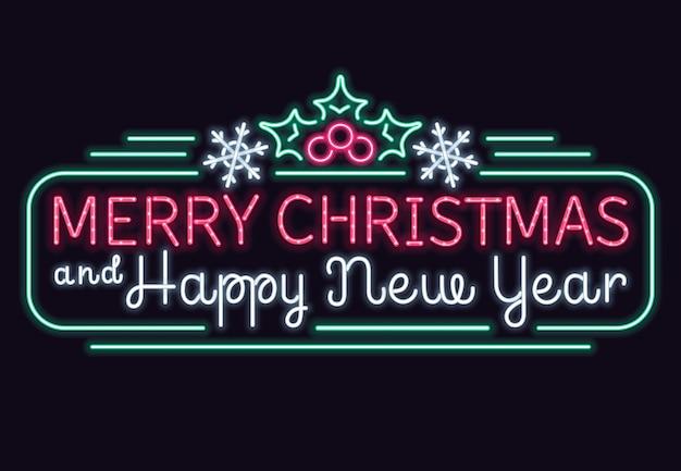 Neonlichter frohe weihnachten und vektorzeichen des guten rutsch ins neue jahr Premium Vektoren
