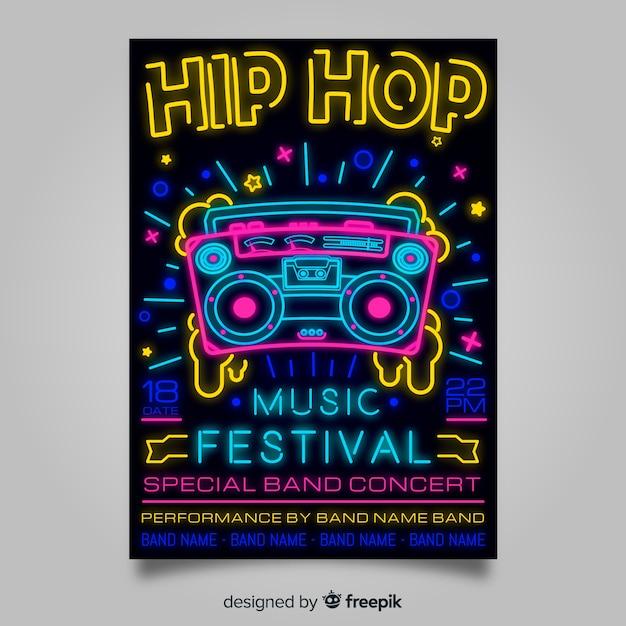 Neonlichtmusikfestival-plakatschablone Premium Vektoren