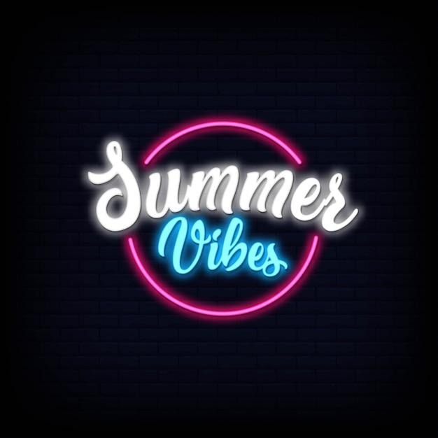 Neonschriftzug von summer vibes. leuchtender leuchtreklame-schildeffekt Premium Vektoren
