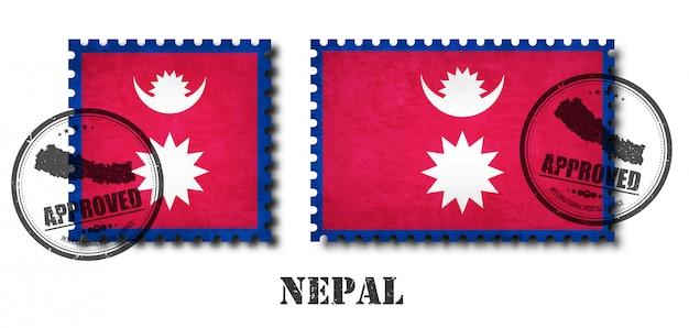 Nepal oder nepal flagge muster briefmarke Premium Vektoren