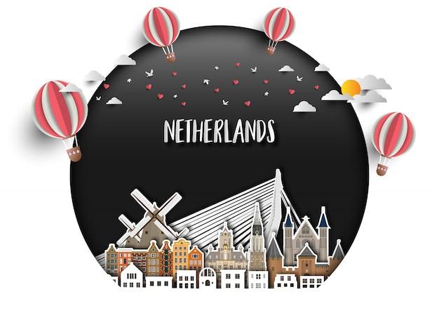 Netherland landmark papierhintergrund Premium Vektoren