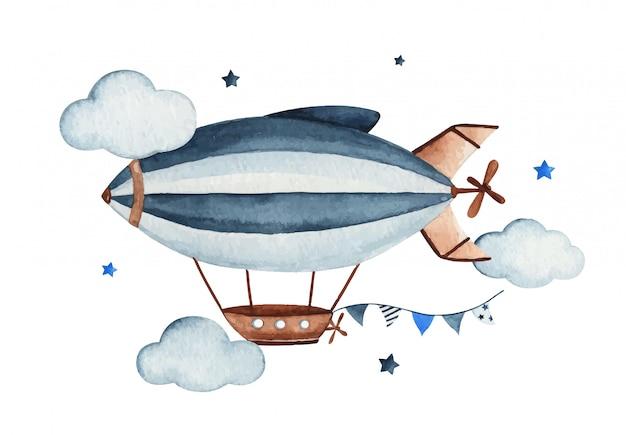 Nette aquarellhimmelszene mit luftzeppelin, girlande, wolken und sternen, gezeichnete illustration der aquarellhand. Premium Vektoren