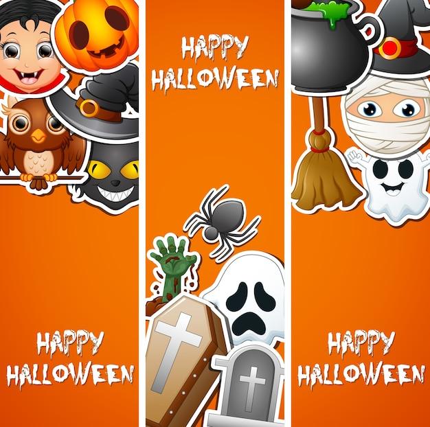 Nette aufkleber glücklichen halloween-hintergrundes Premium Vektoren