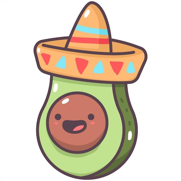 Nette avocado im mexikanischen hutkarikaturfruchtcharakter lokalisiert auf einem weißen hintergrund. Premium Vektoren