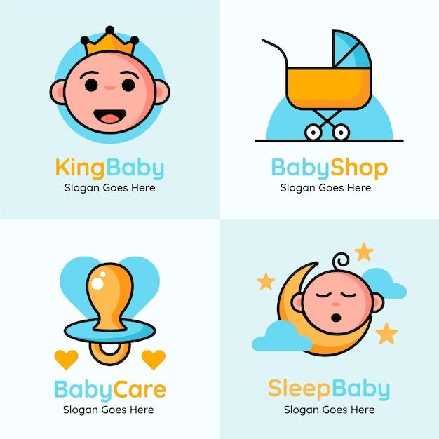 Nette baby-logosammlung Kostenlosen Vektoren