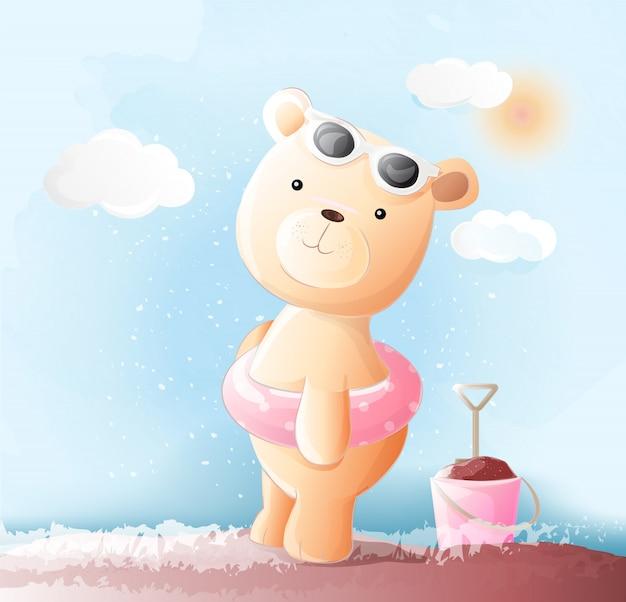 Nette babybärn-aquarellart Premium Vektoren