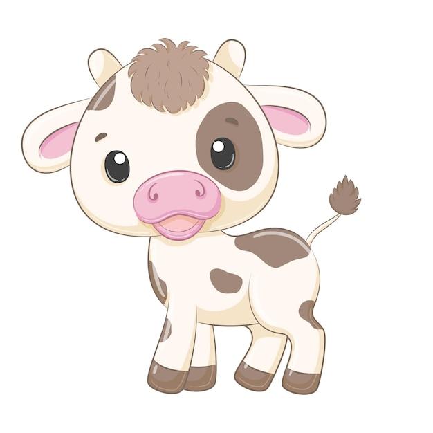 Nette babykuhkarikaturillustration Premium Vektoren