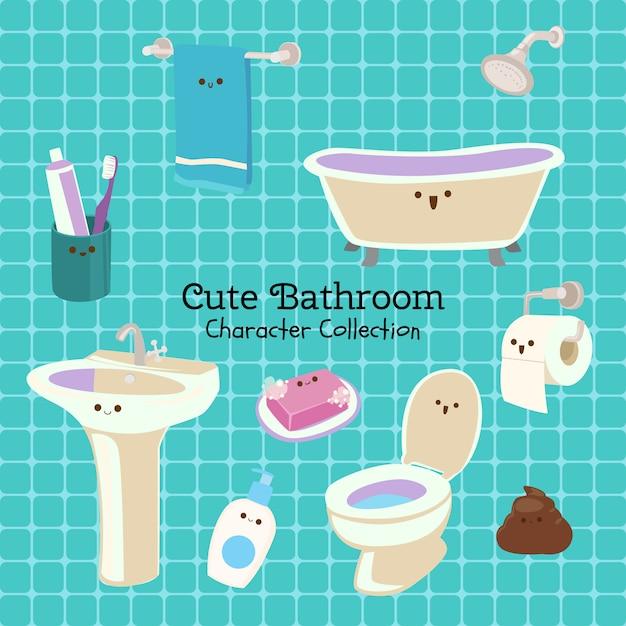 Nette badezimmer-charakter-sammlung Premium Vektoren