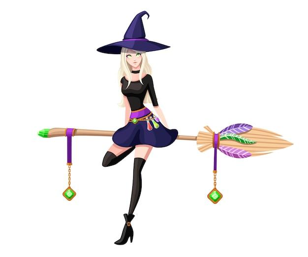 Nette blonde hexe sitzen auf fliegendem besen. hexe lila hut und kleidung. zeichentrickfigur . wunderschöne frauen. illustration auf weißem hintergrund Premium Vektoren