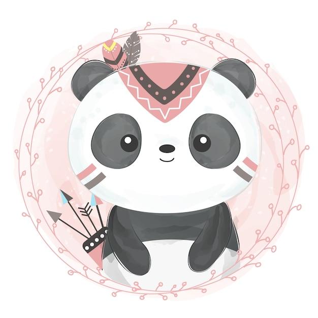 Nette boho panda illustration Premium Vektoren