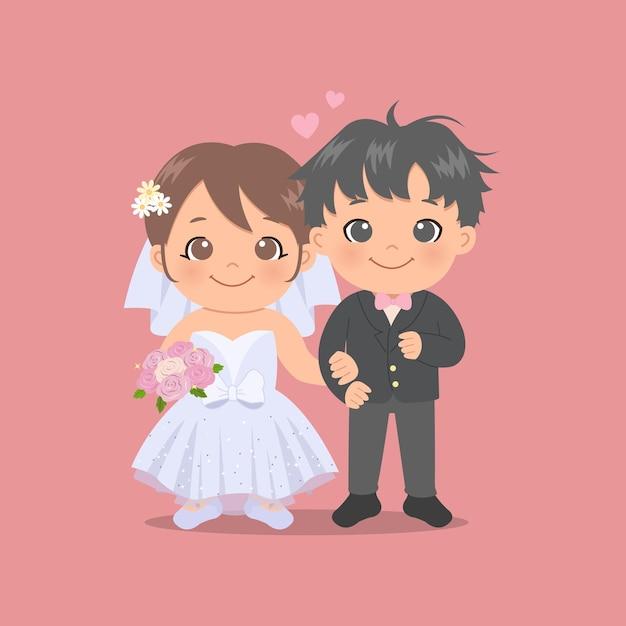 Nette braut und bräutigam, die hochzeitskleid und smoking tragen. valentinstag. flacher stil. Premium Vektoren