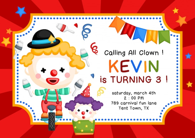 Nette clown-thema-geburtstags-einladung Premium Vektoren