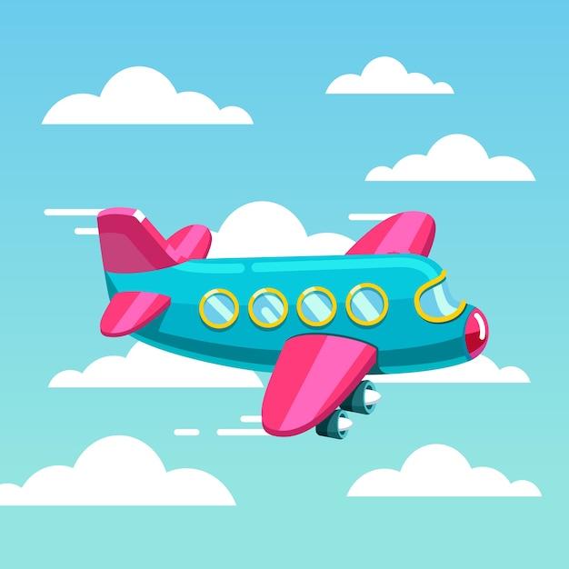 Nette comic flugzeug jet fliegen schnell in den himmel Kostenlosen Vektoren
