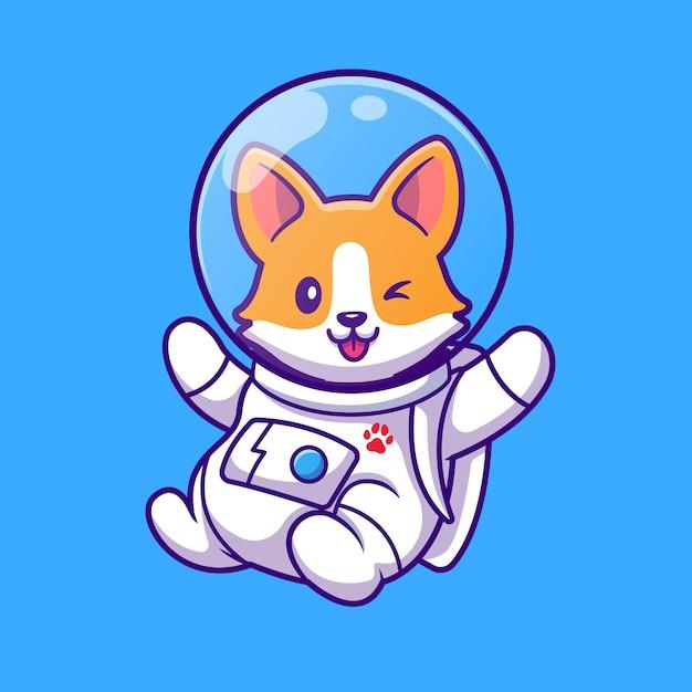 Nette corgi astronaut fliegende karikatur vektor-illustration. tierwissenschaftliches konzept isolierter vektor. flacher cartoon-stil Kostenlosen Vektoren