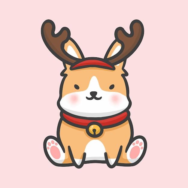Nette corgikostümren-weihnachtshand gezeichnete karikaturart Premium Vektoren