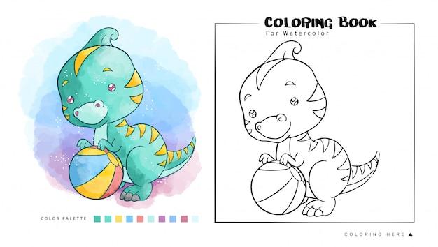 nette dinosaurier, die einen ball, karikaturillustration