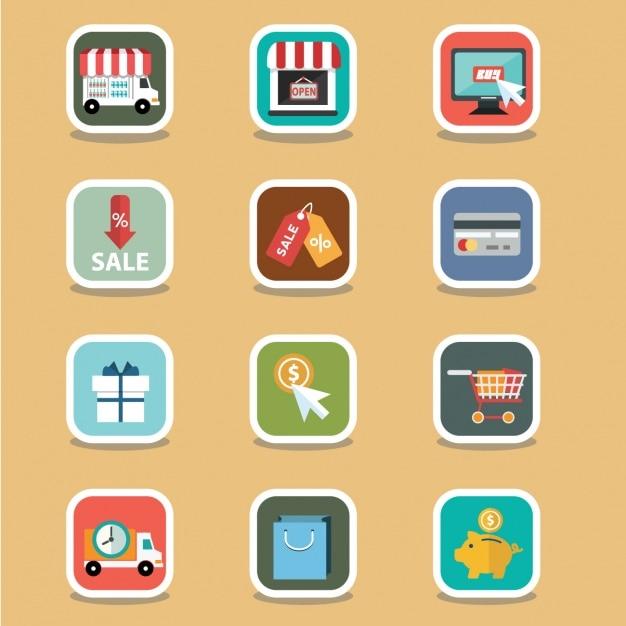 Nette e-commerce-elemente Kostenlosen Vektoren