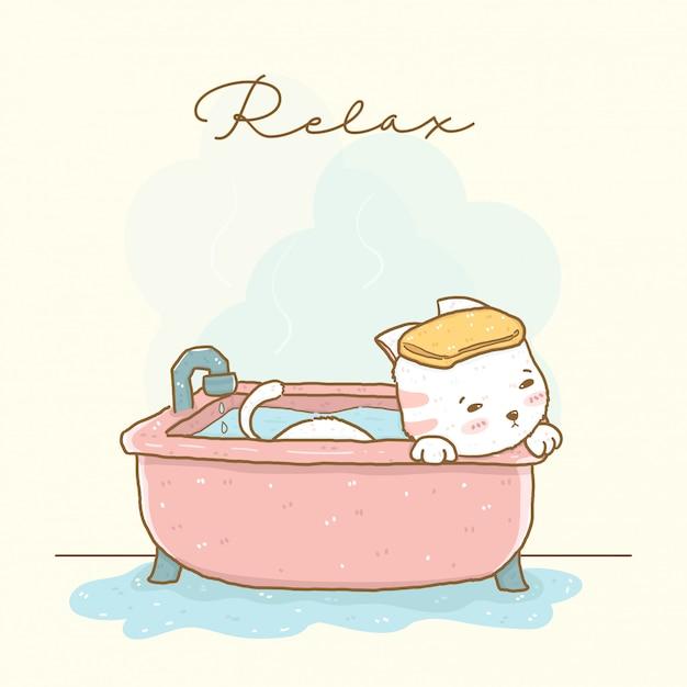 Nette entspannende weiße katzendusche in der rosa warmen badewanne, idee für grußkarte, kinderzeugdruck, illustrationsflachvektor Premium Vektoren