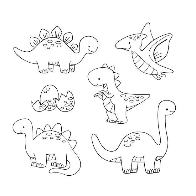 Nette färbung für kinder mit dinosauriern Kostenlosen Vektoren