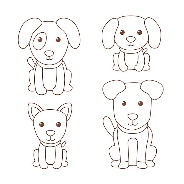 Nette färbung für kinder mit hunden Kostenlosen Vektoren
