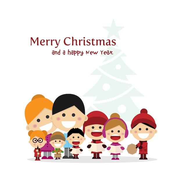 Nette familie, die weihnachtslieder nachts singt Premium Vektoren