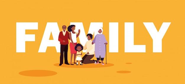 Nette familienafromitglieder Premium Vektoren