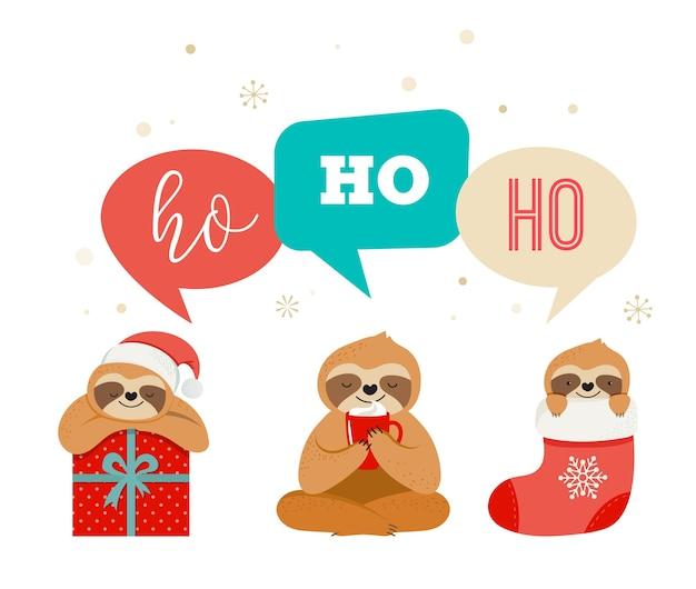 Nette faule faultiere, lustige frohe weihnachten s mit weihnachtsmannkostümen, mütze und schals, grußkartensatz, fahne Premium Vektoren