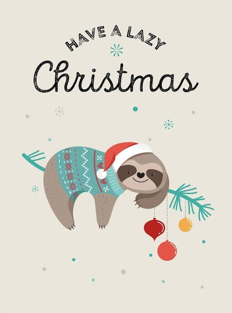 Nette faule faultiere, lustige frohe weihnachtsillustrationen mit weihnachtsmannkostümen, mütze und schals, grußkartensatz, fahne Premium Vektoren