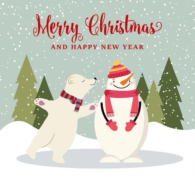 Nette flache design weihnachtskarte mit schneemann und eisbär Premium Vektoren
